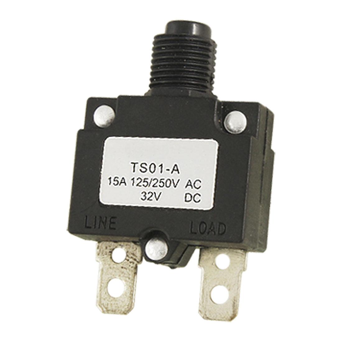 AC 125/250V 15A Air Compressor Circuit Breaker Overload Protector