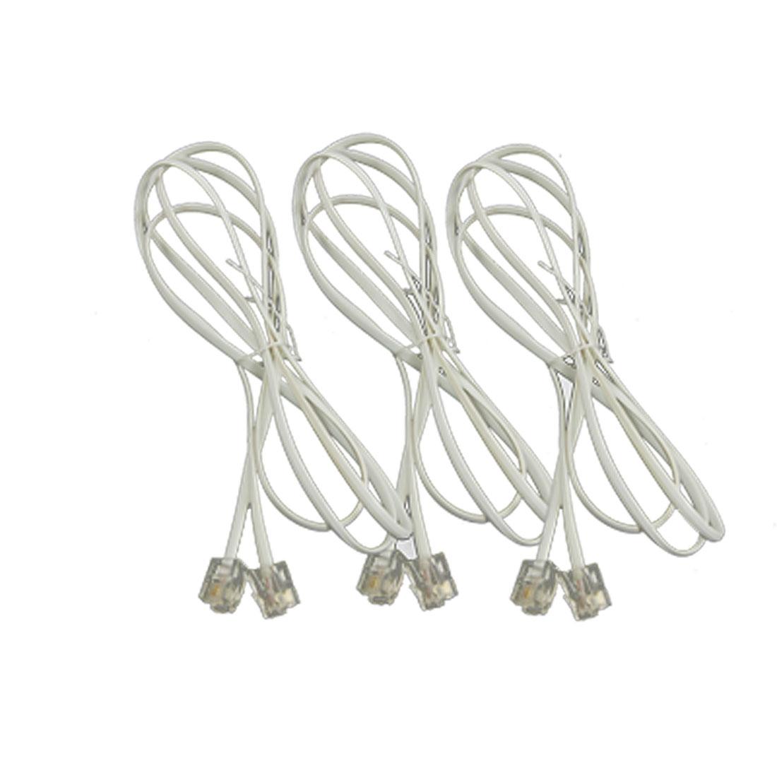 3 Pcs 1.2M 3.9Ft RJ11 Telephone Phone Extension Cord Cable