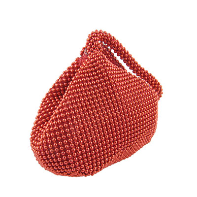 Women Red Magnetic Button Clasp Triangle Beaded Bag Purse
