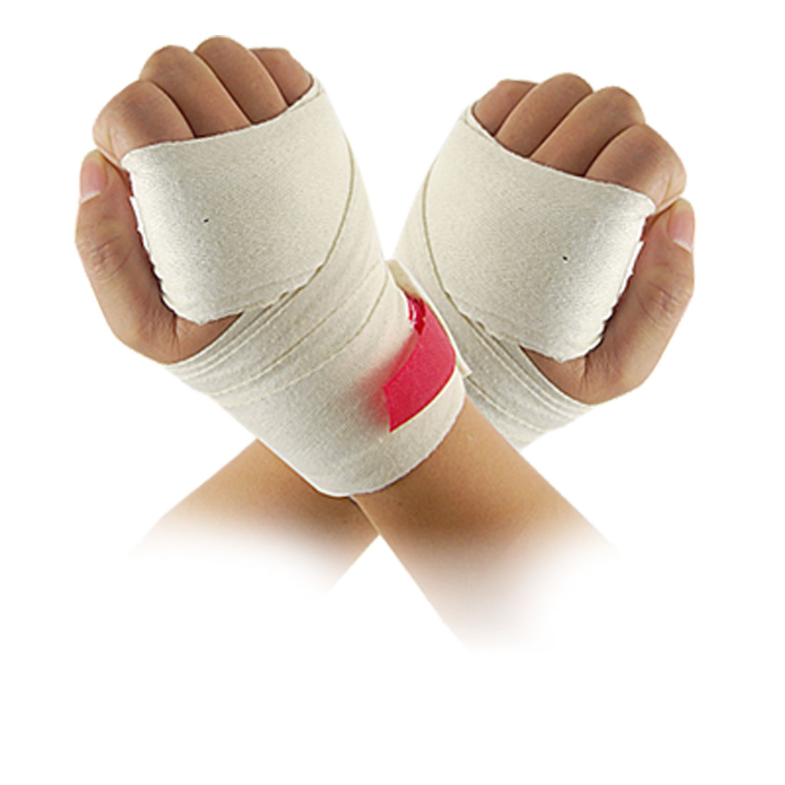 Boxing Taekwondo Off White Textured Hand Wraps Protector 2 Pcs
