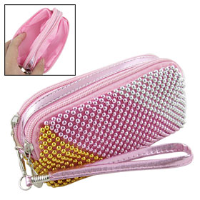 Woman Pink Faux Leather Strap Metal Beaded Zip Up Wristlet Purse