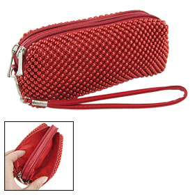 Women Red 2 Two Compartments Zip Up Beads Wristlet Purse