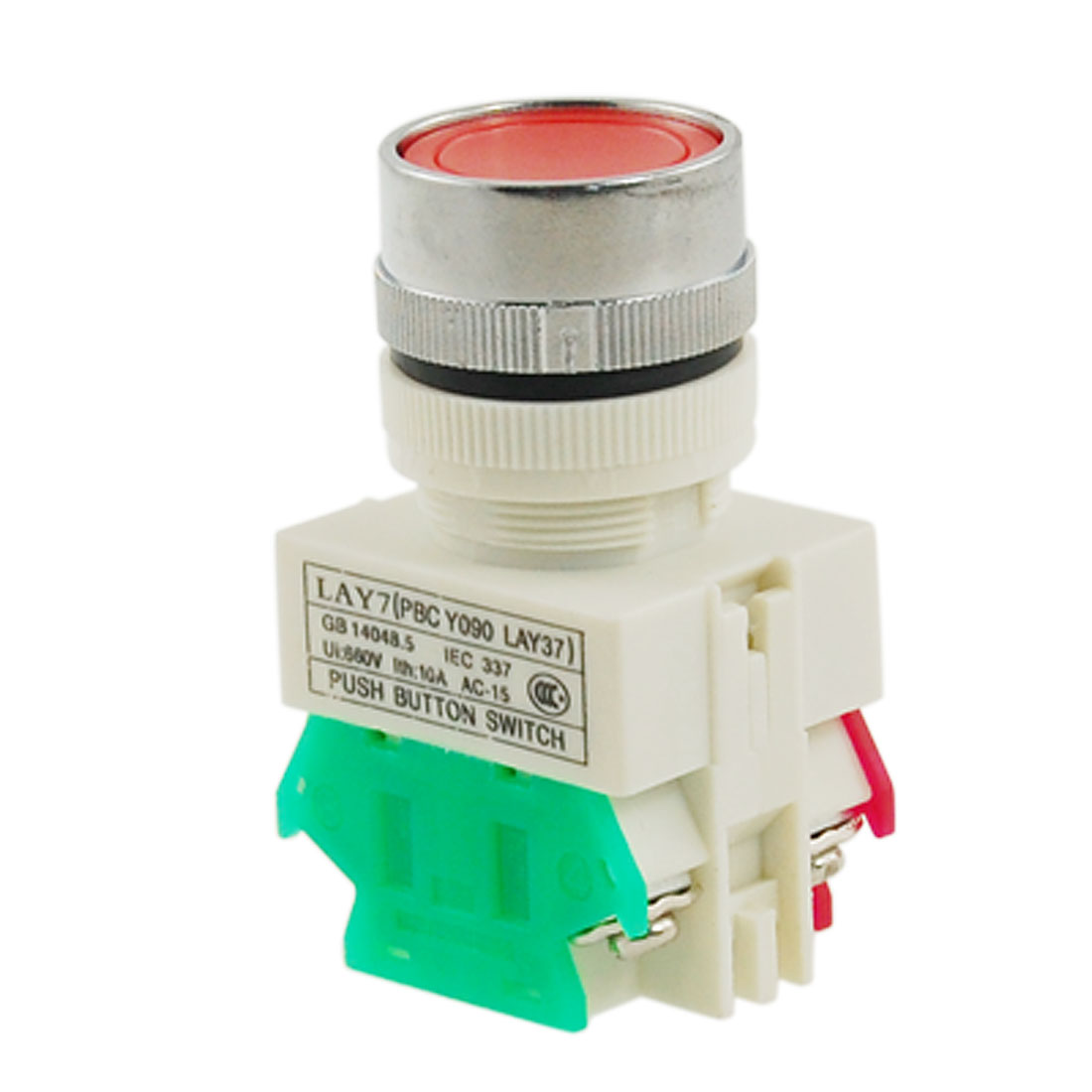 "AC 660V 10A Red Sign Momentary Pushbutton Switch 22mm 7/8"" 1 NO N/O 1 NC N/C"