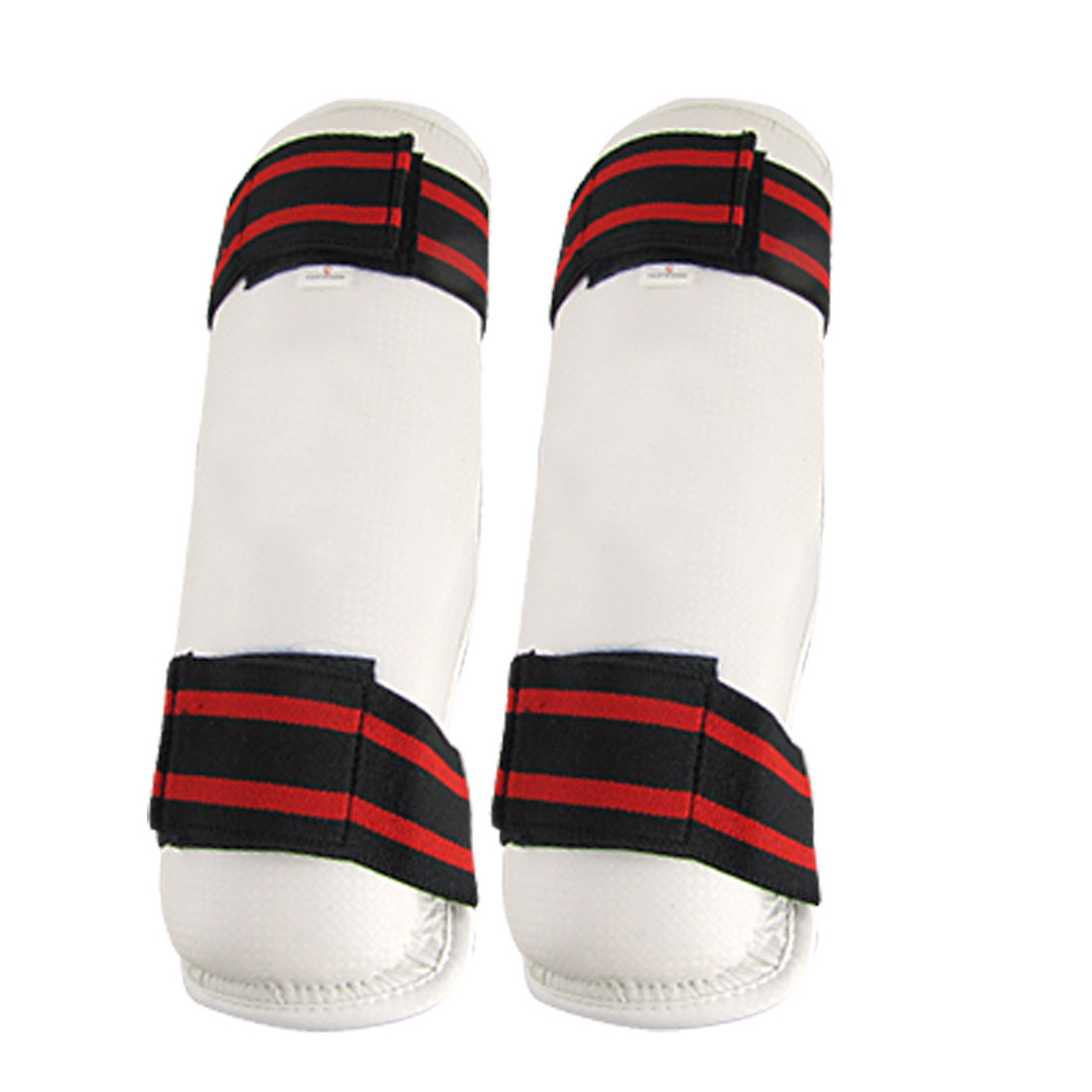 White Sparring Taekwondo PU Leather Shin Protectors Guards 2 Pcs