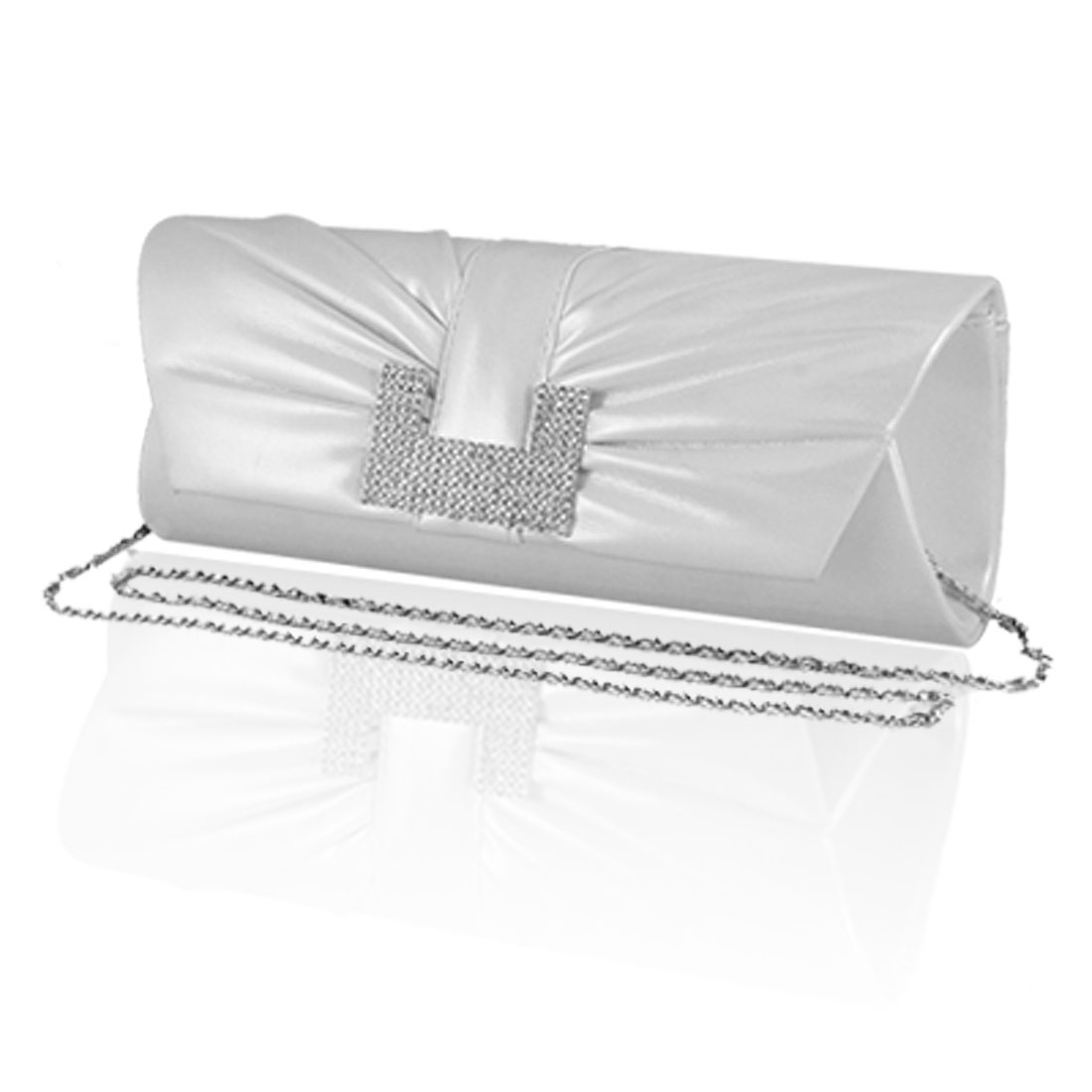 Rhinestone Decor White Faux Leather Evening Hand Bag for Women