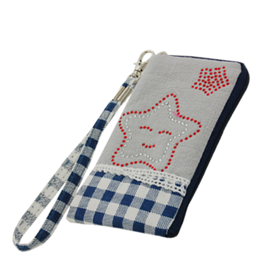 Rhinestone Star Print Zipper Closure Pouch for Cell Phone