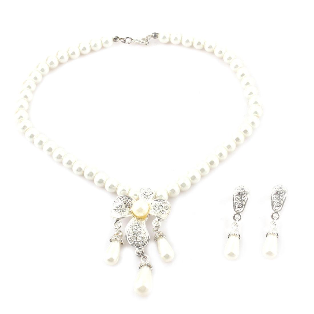 Women Metal Rhinestone Flower Plastic Teardrop Beads Pendant Necklace White