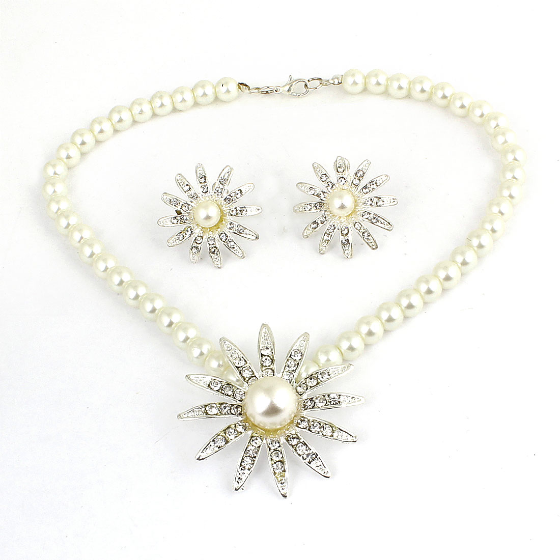 Woman Glittery Bead Flower Necklace + Rhinestone Clip Earrings