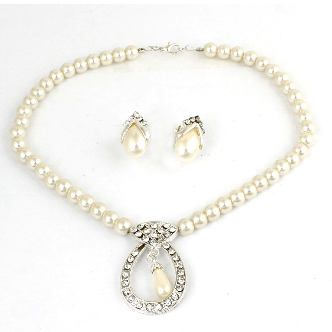 Woman Rhinestone Oval Circle Pendant Necklace + Beads Clip Earrings