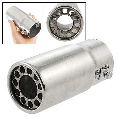 "Car 2.2"" Inlet Silver Tone Cylinder Metal Muffler Tip"