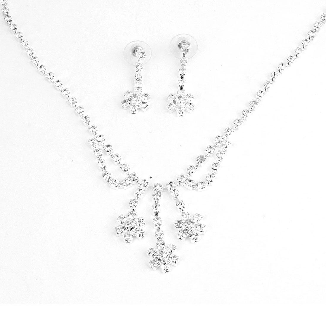 Women Rhinestone Flower Pendant Princess Necklace w Stud Earrings