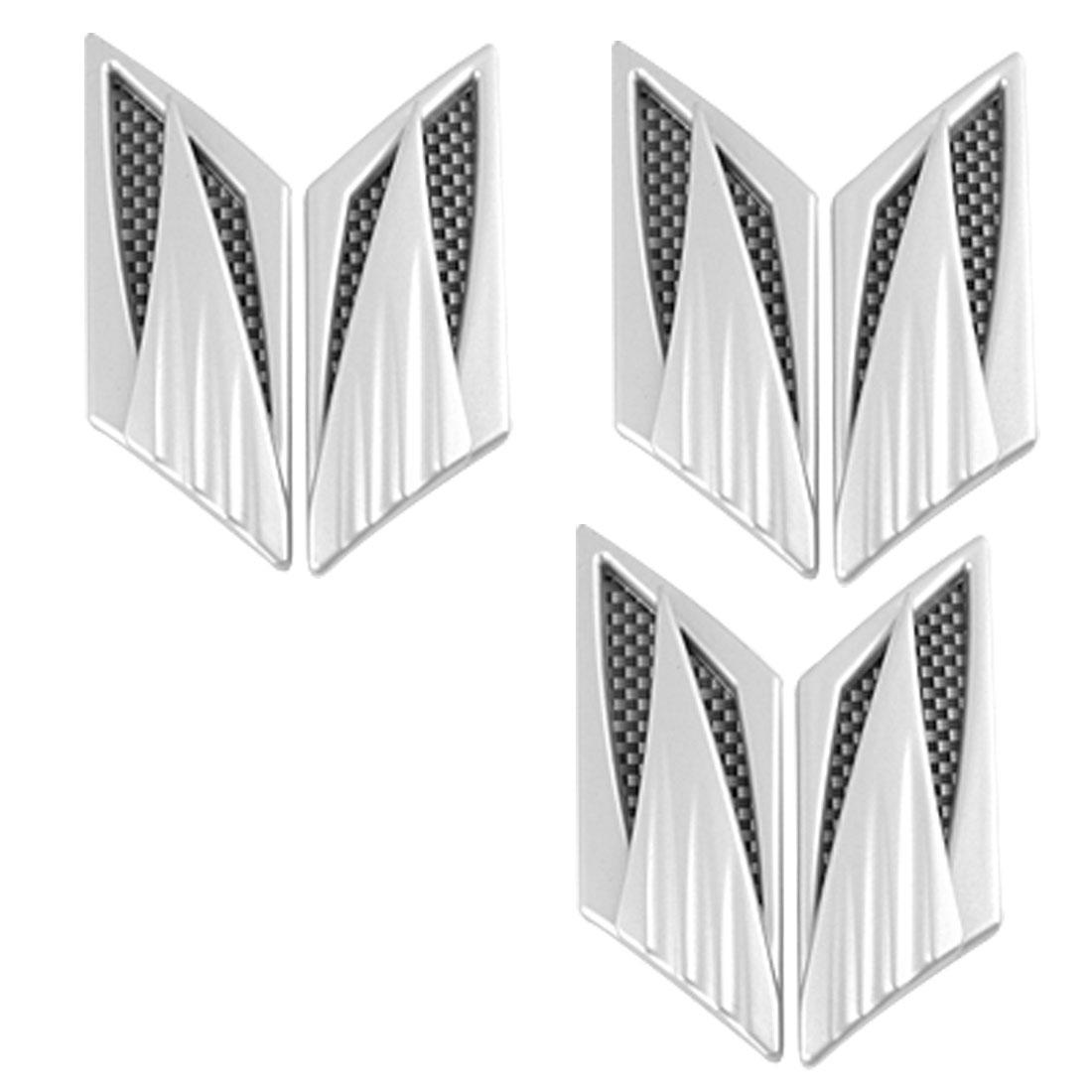 Car Air Flow Vent Fender Sticker Decor Silver Tone 6 Pcs