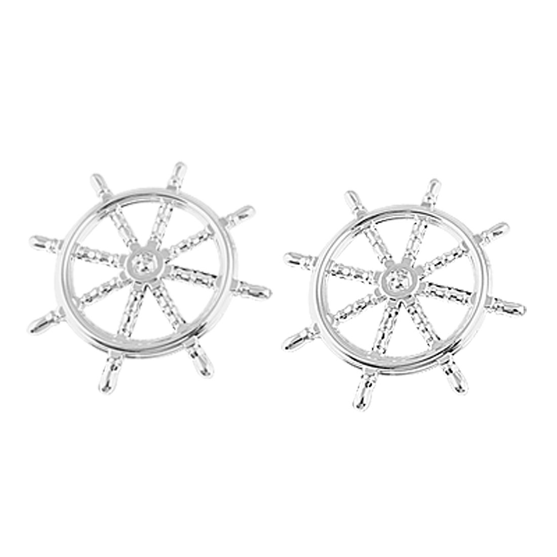 Car Exterior Plastic Ship Steering Wheel Sticker Decor 2 Pcs