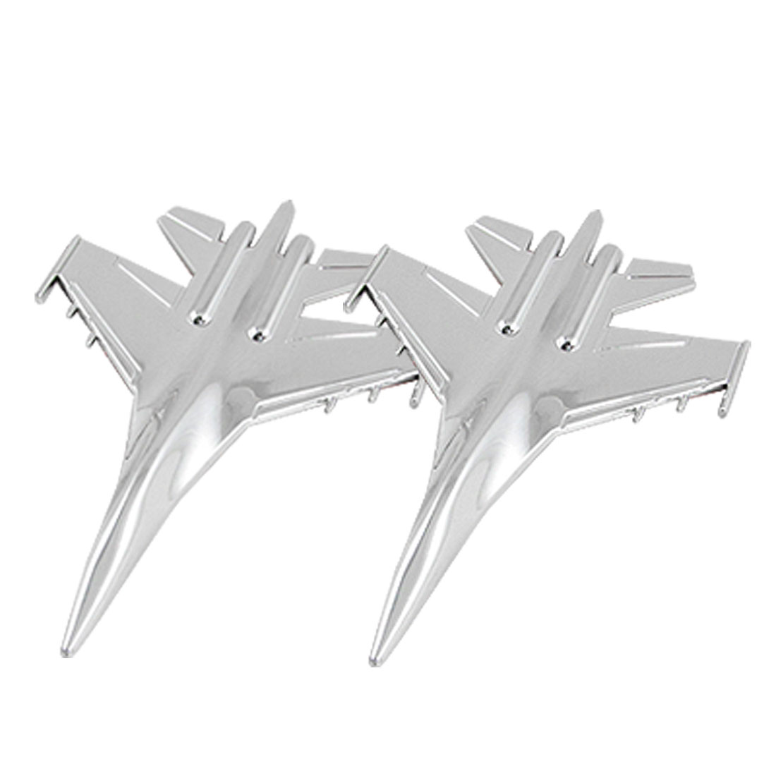 Vehicle Car Fighter Plane Shape Badge Sticker Silver Tone 2 Pcs