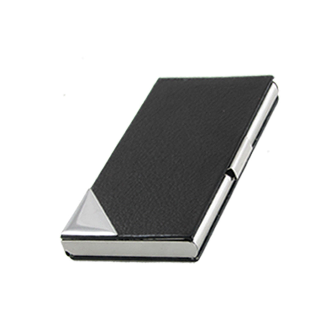 Black Silver Tone Metal Business Card Holder Case