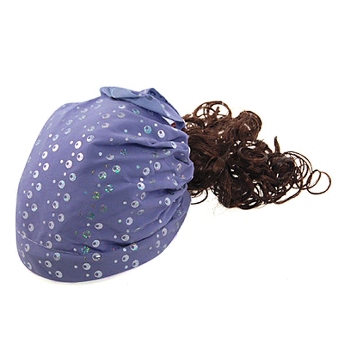 Light Purple Sequin Detail Curly Wig Hairpiece Hat for Children