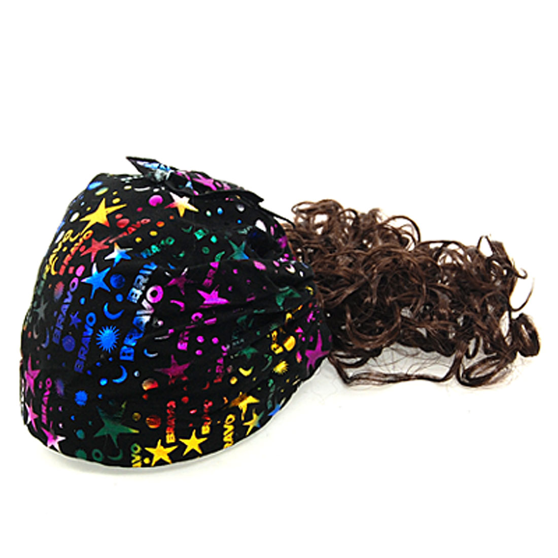 Children Flexible Headband Hairpiece Hat Black w Curly Wig