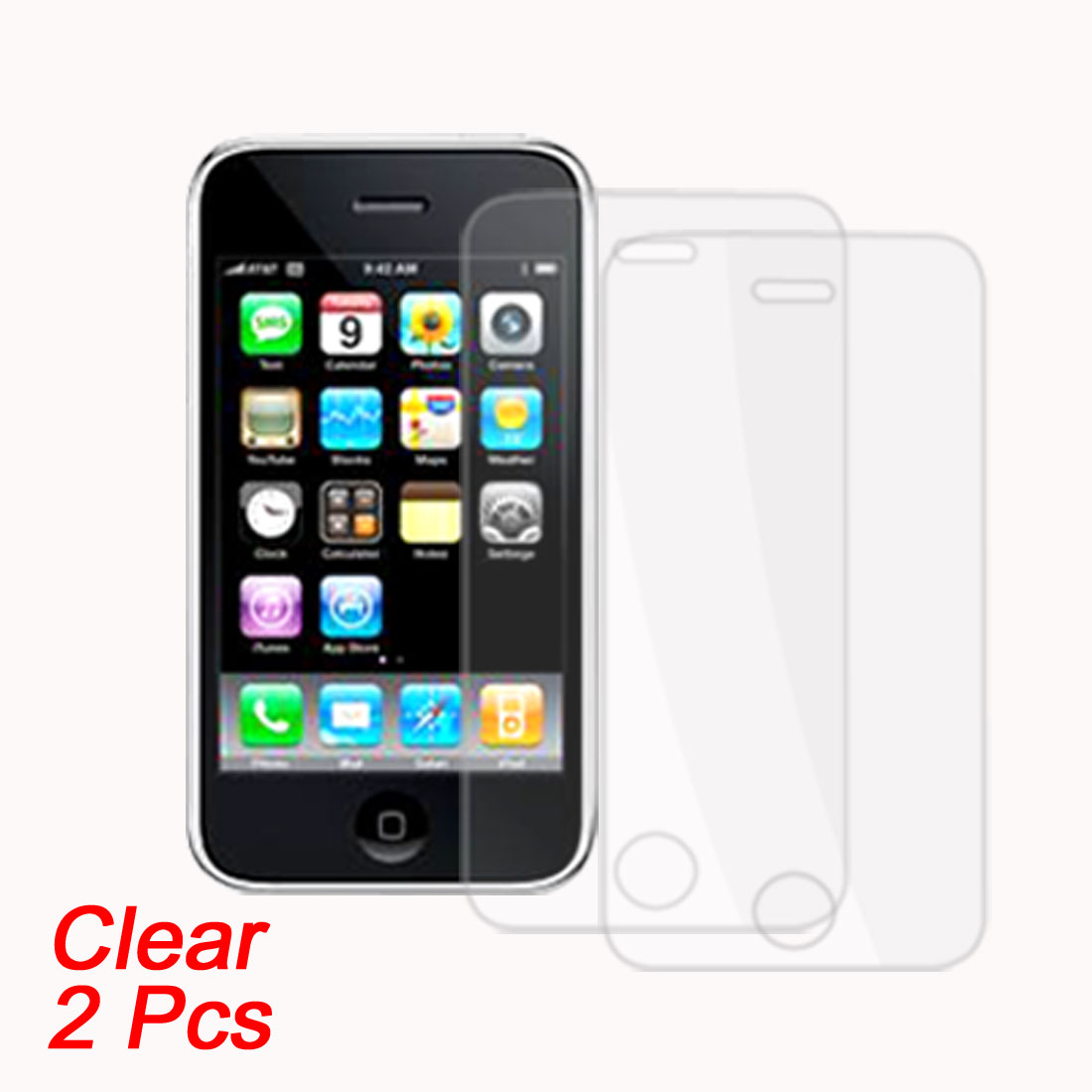 2 Pcs Plastic Clear LCD Screen Protectors for Cell Phone