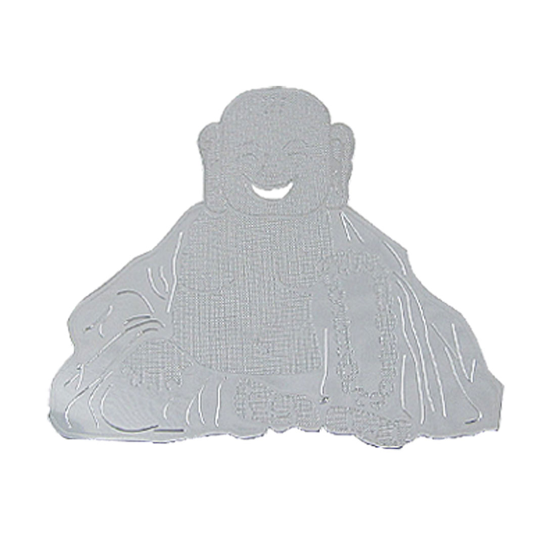 Laughing Buddha Print Protection Sticker Decor Silver Tone