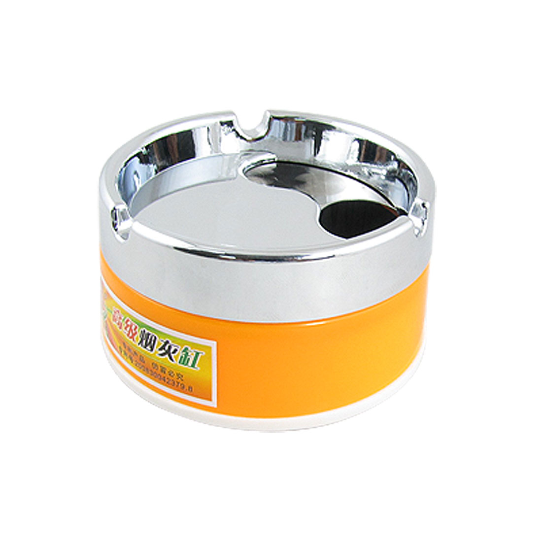Orange Silver Tone Cylinder Cigaretter Holder Smoking Ashtray