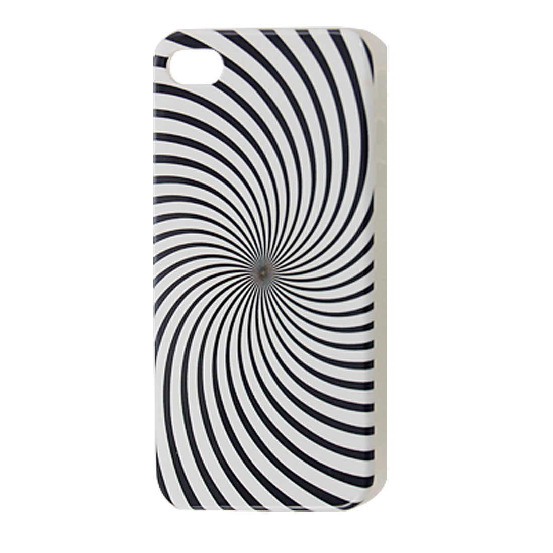 Plastic Black White IMD Spiral Case Cover for iPhone 4 4G