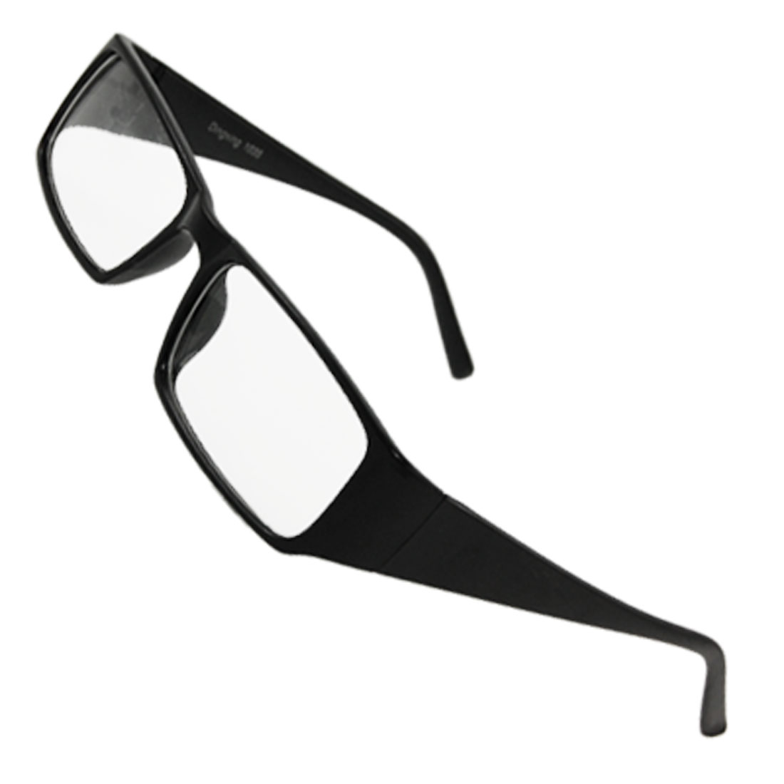 Man Woman Plastic Broad Arms Clear Lens Glasses Black
