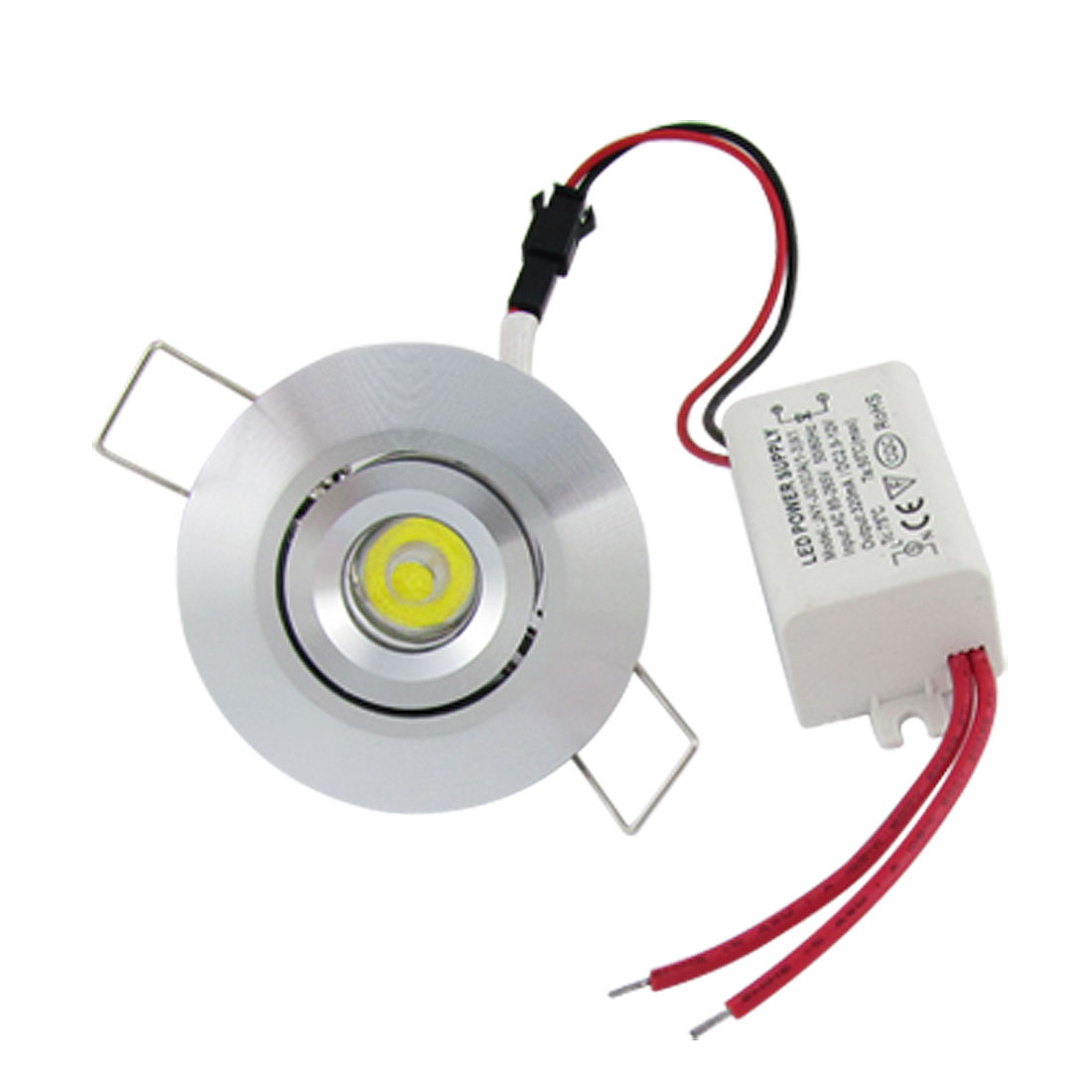 Silver Tone Stainless Steel Round LED Down Light Kit 6000K