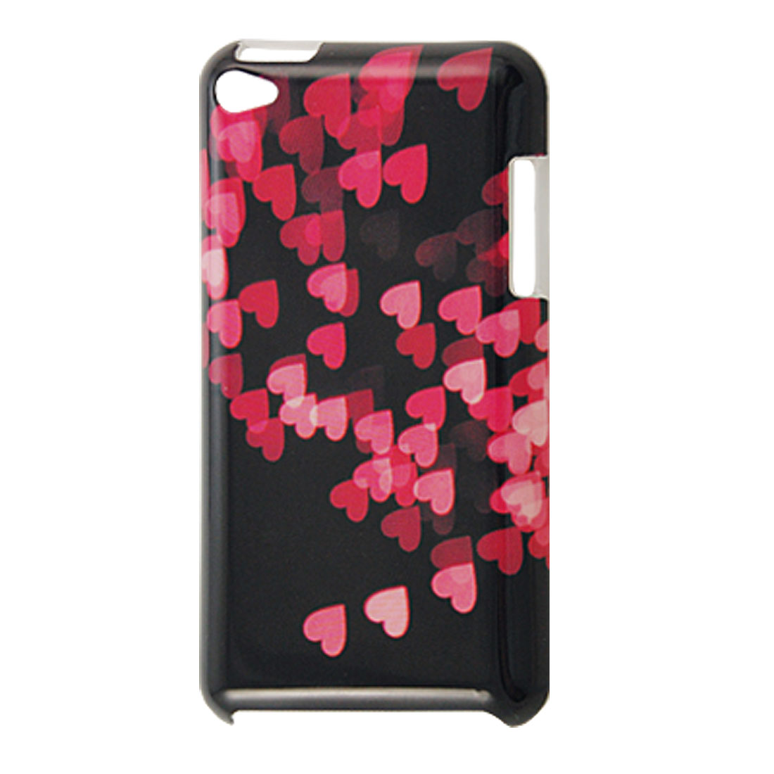 Pink Hearts Hard Plastic IMD Black Back Case for iPod Touch 4G