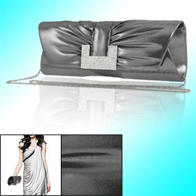 Woman Pleated Front Rhinestone Decor Dark Gray Faux Leather Evening Bag