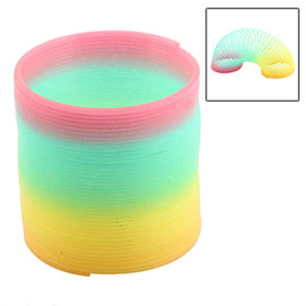 Children Fluorescent Rainbow Color Plastic Slinky Spring Toy