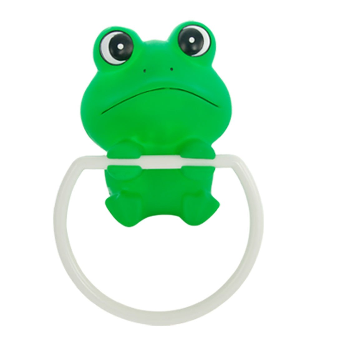Cartoon Frog Shape Plastic Towel Hanger Bar Ring Holder Green