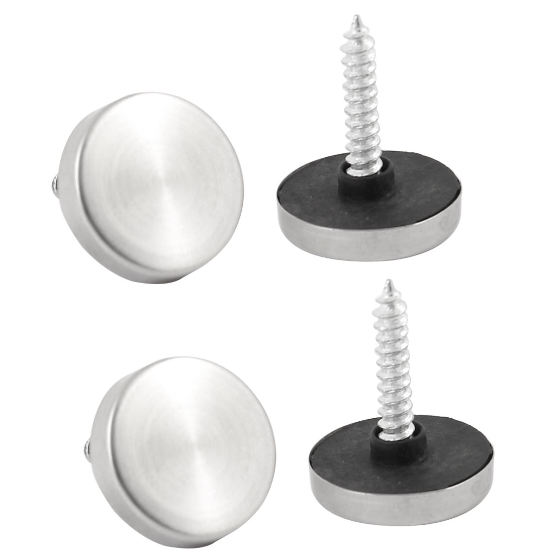 Furniture Hardware Silver Tone 20mm Screw Cap Mirror Nail Decoration 4 Pcs