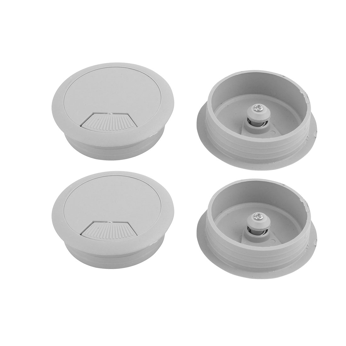 "2"" Dia Gray Plastic Grommet 4 Pcs for Computer Desk"