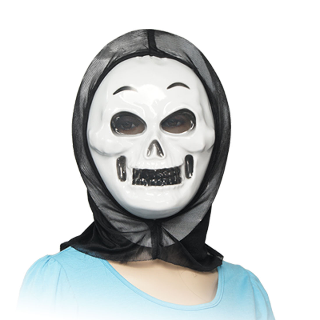 Halloween Masquerade Black Teeth White Plastic Skull Face Scary Mask