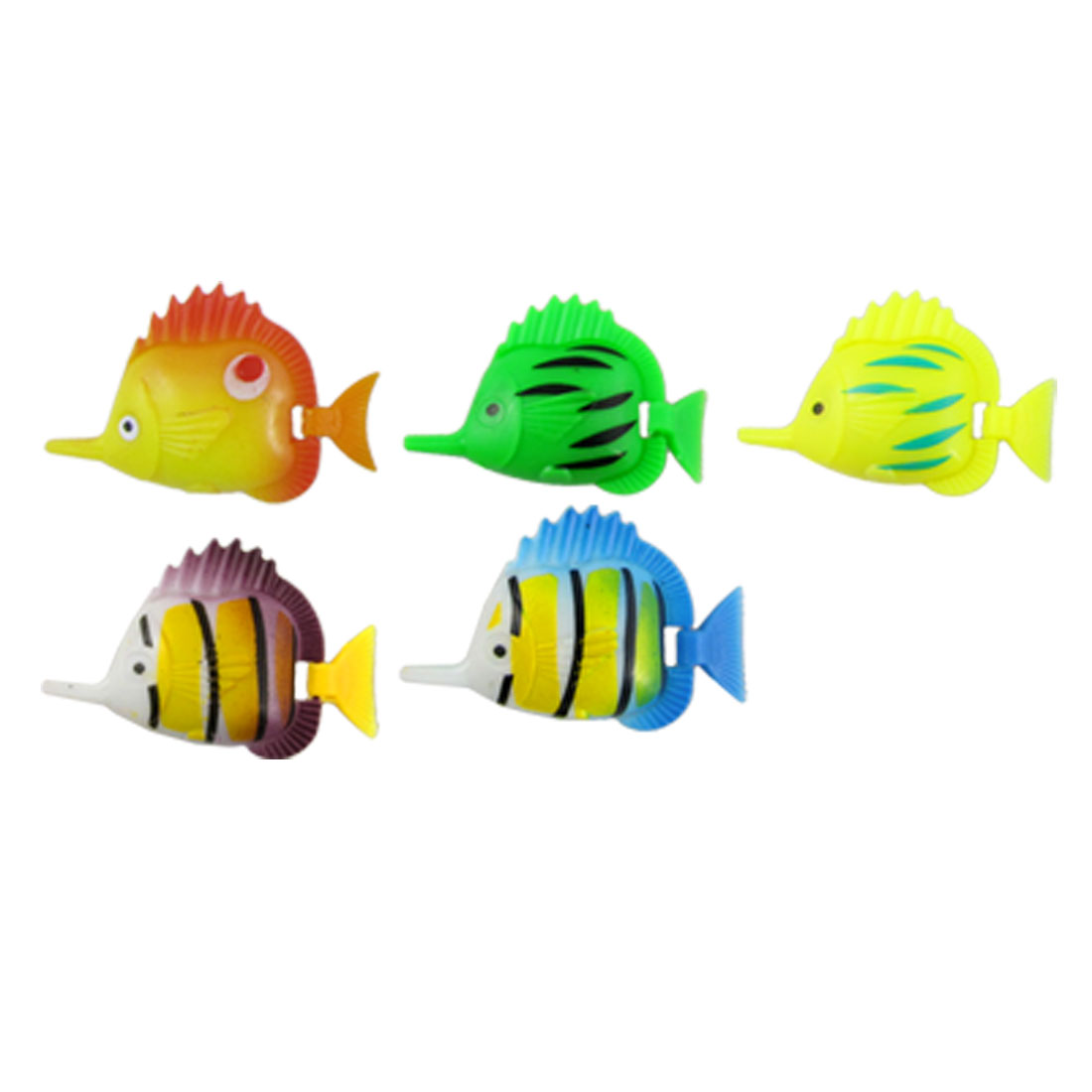 Colorful Flexible Tail Tropical Fish Ornament 5 Pcs for Aquarium Tank