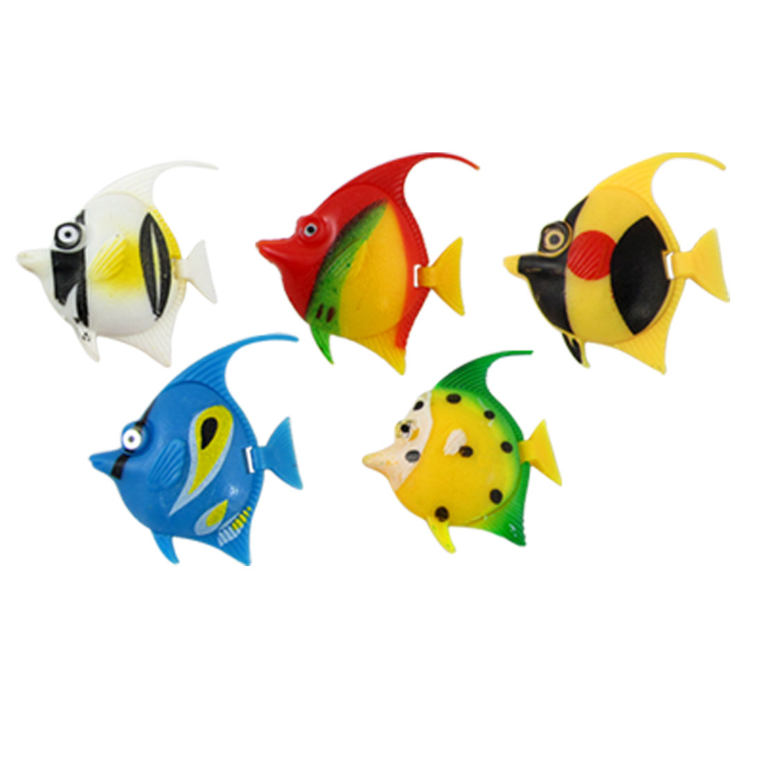 Colorful Plastic Swimming Tropical Fish Decor 5 Pcs for Aquarium