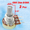 2 Pcs B100K 100K ohm Knurled Shaft Single Linear Potentiometers