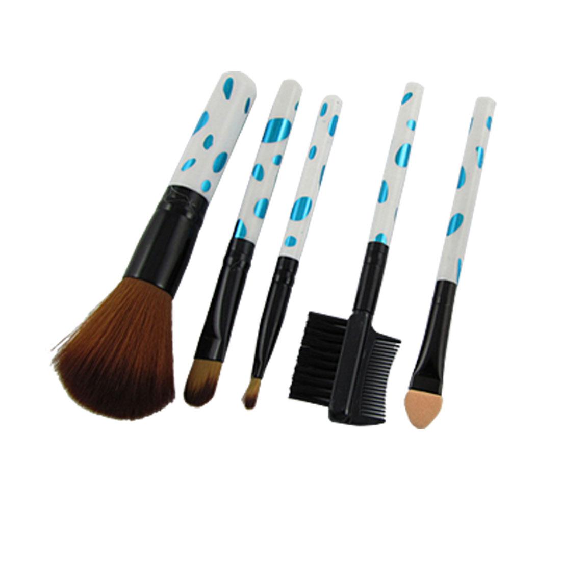 Blue White Handle 5 Pcs Blush Concealer Lip Brushes for Lady