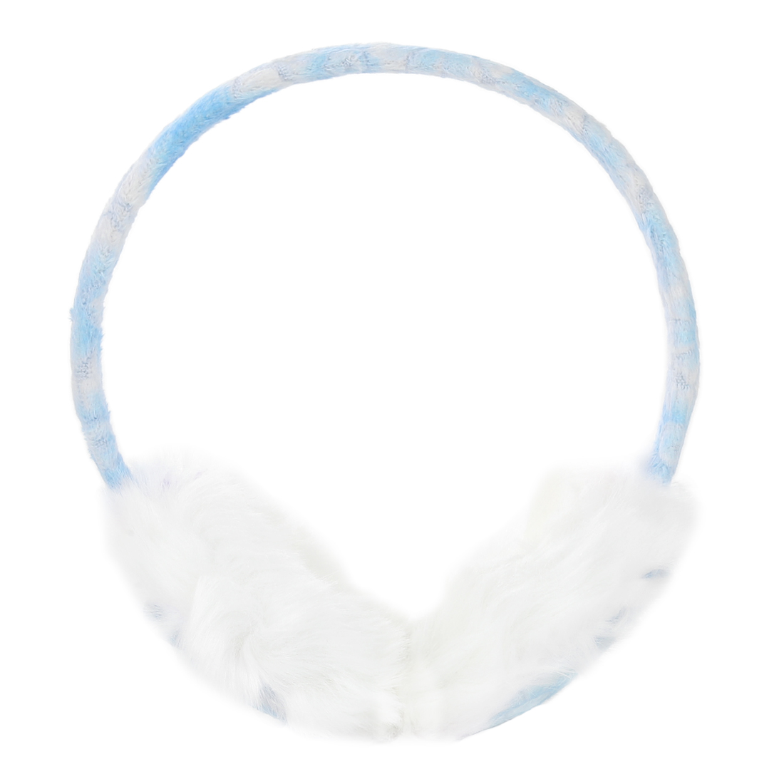 Lady Winter Plush Coated Rim Faux Fur Earlap Earmuffs White Blue