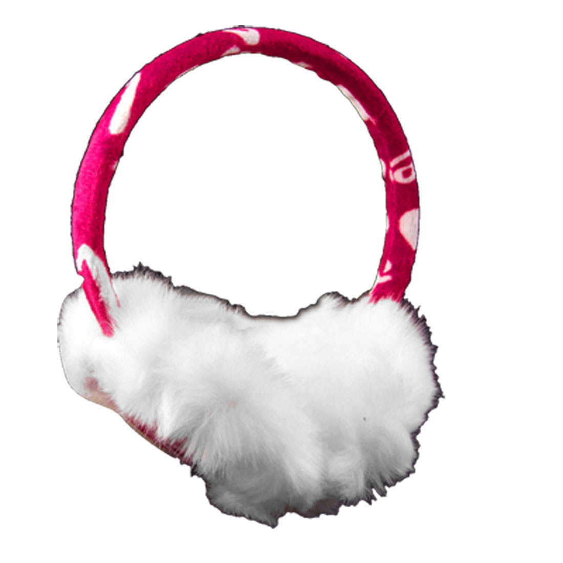 Women Winter Faux Fur Heart Print Ear Warmer Earmuffs White Red