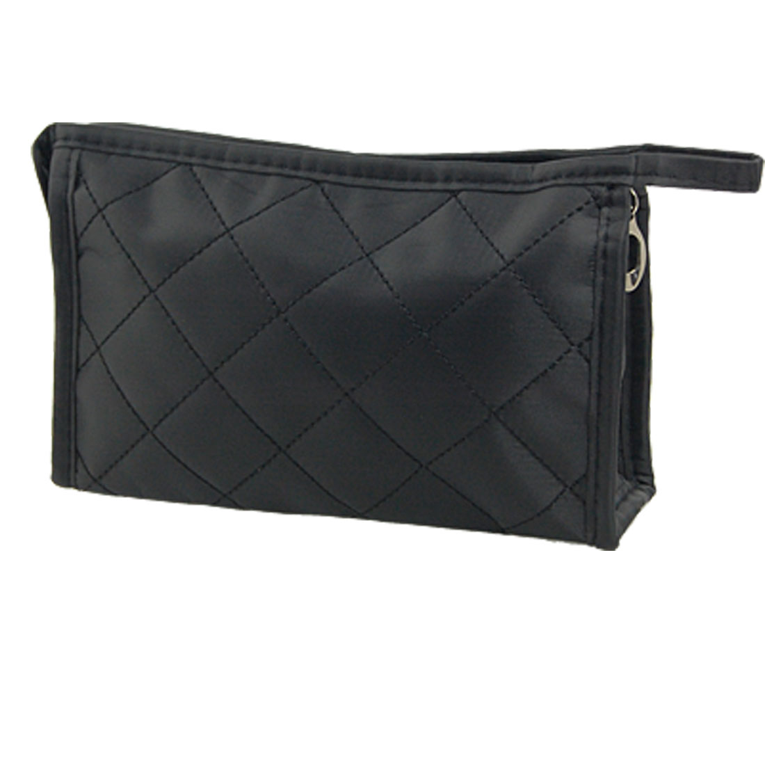Black Grid Pattern Cosmetic Make Up Small Zippered Bag for Women
