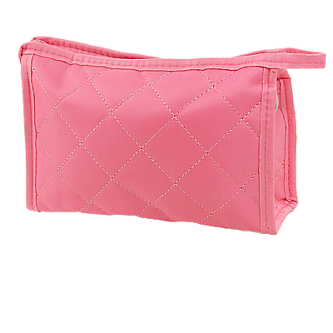 Woman Pink Rectangle Zipper Closure Small Pouch Cosmetic Case Bag