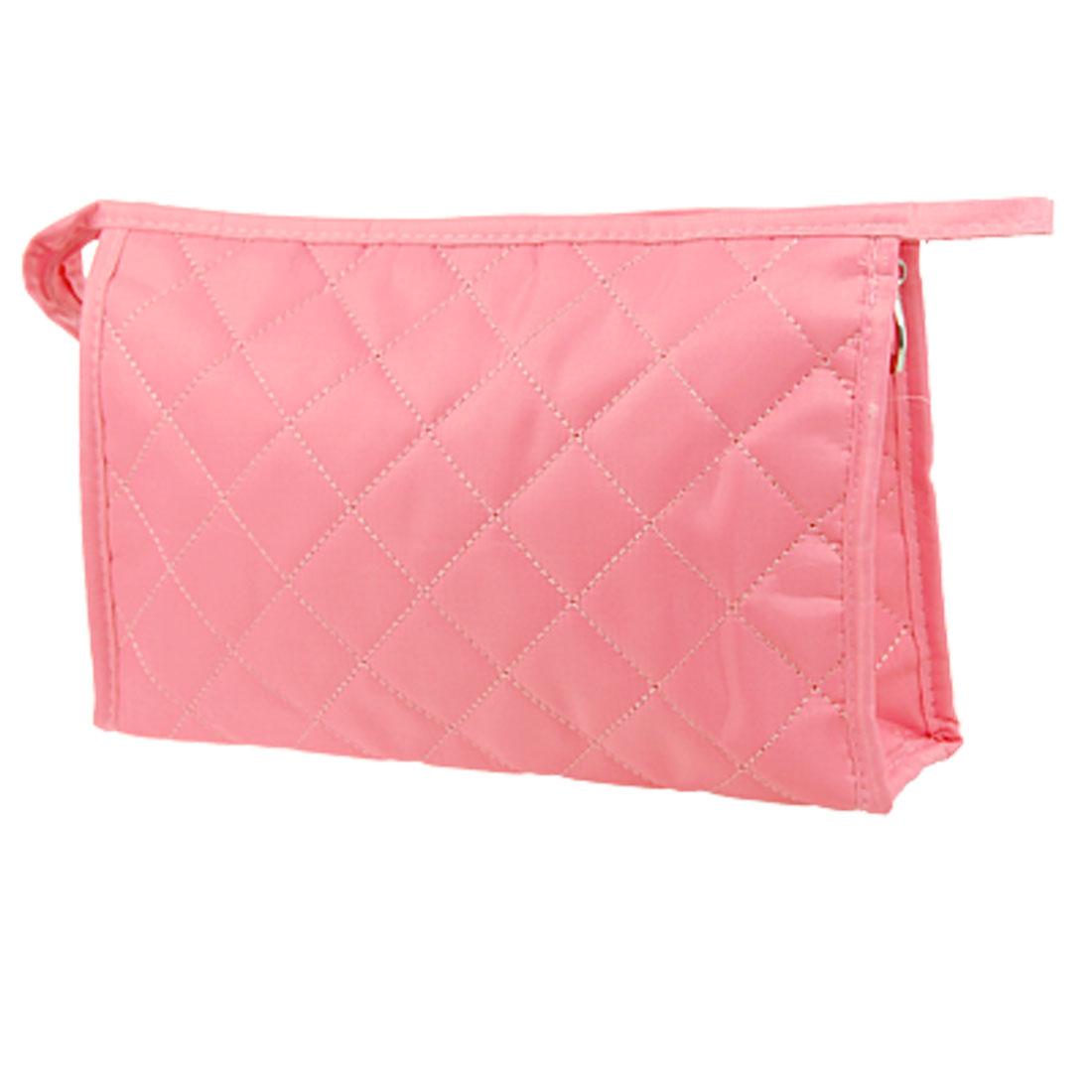Women Pink Zipper Closure Rectangular Large Cosmetic Case Storage Bag