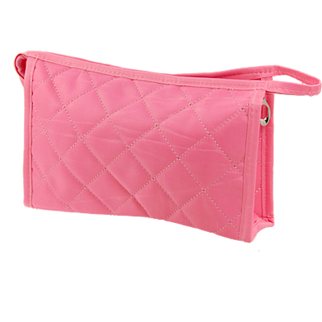 Women Grid Pattern Medium Travel Storage Bag Cosmetic Pouch Case Pink