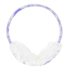 Women White Faux Fur Purple Flower Ear Warmer Cover Earmuffs