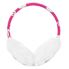 Lady Winter Faux Fur Heart Letter Print Earlap Earmuffs White Fuchsia