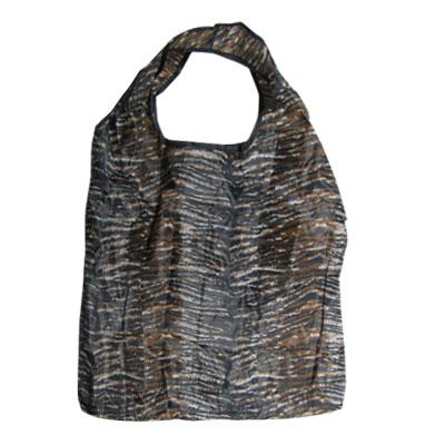 Black Brown Tiger Print Folding Tote Handbag Shopping Bag