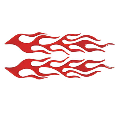 2 in 1 Auto Car Red Plastic Flame Shaped Reflective Stickers