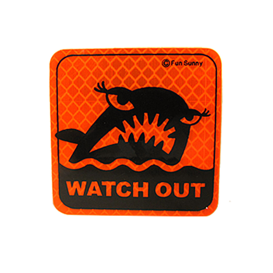 Watch Out Shark Print Reflective Plastic Square Sticker Orange Red for Car