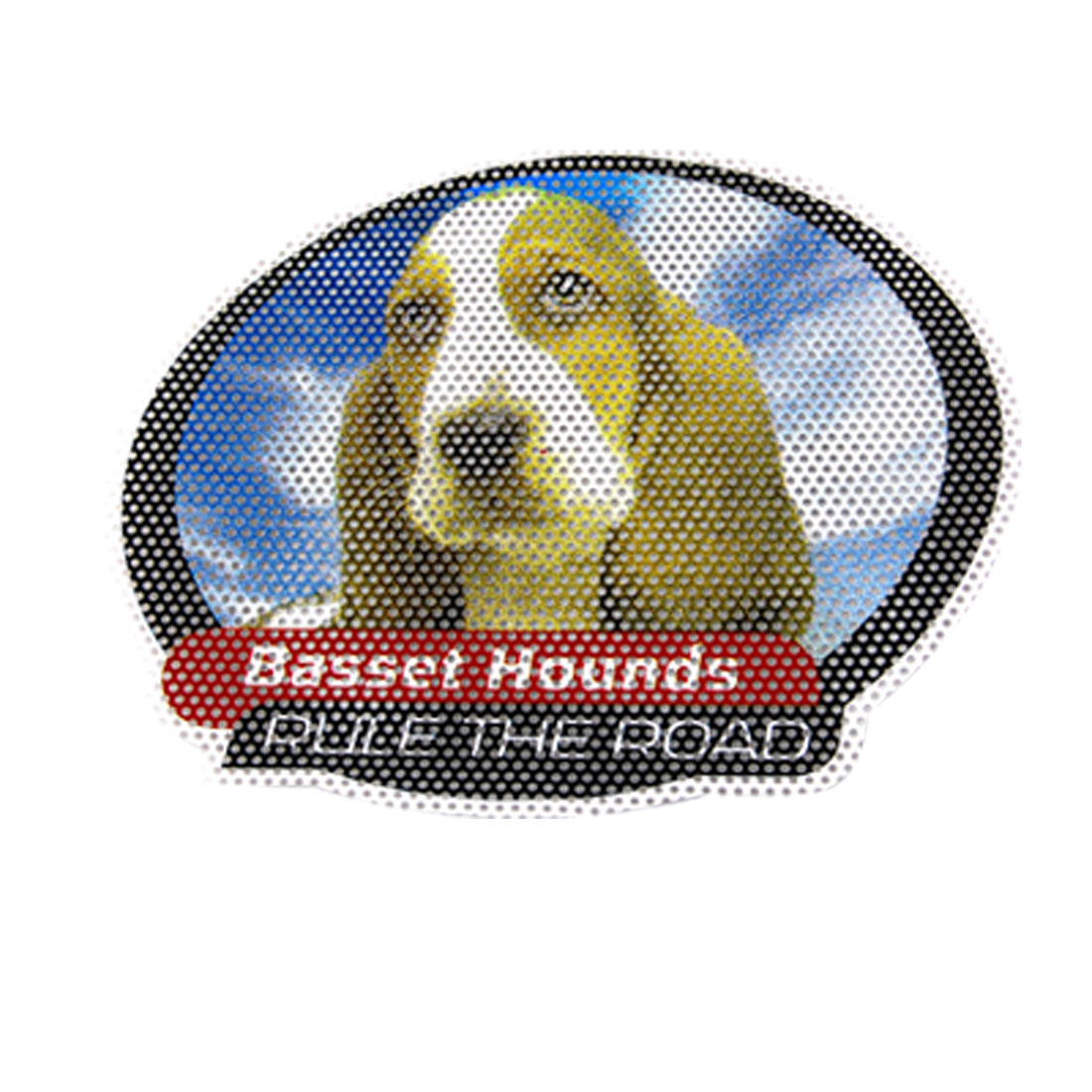 Olive Green Basset Hound Pattern Plastic Perforated Car Window Sticker